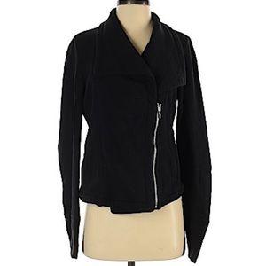 GAP Black Cotton Asymmetrical Zip Moto Jacket
